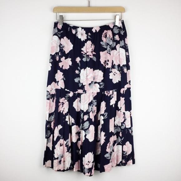 Vintage Dresses & Skirts - Vintage 90s navy dark floral pleated midi skirt